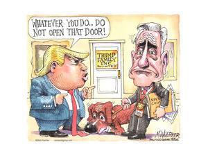 Whatever you do, do not open that door! Trump Family Inc. Unlimited. Special Counsel Mueller. by Matt Wuerker