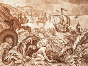 Jonah and the Whale Illustration from a Bible by Mattaus II Merian