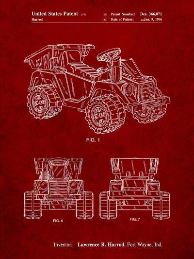 Mattel Kids Dump Truck Patent-Cole Borders-Art Print
