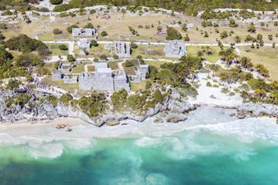Aerial of the mayan ruins of Tulum, Mexico by Matteo Colombo