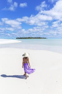 Beautiful Woman on Tropical Beach Honeymoon Island, Aitutaki, Cook Islands (Mr) by Matteo Colombo