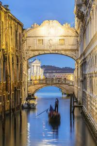 Italy, Veneto, Venice. Bridge of Sighs Illuminated at Dusk with Gondolas by Matteo Colombo