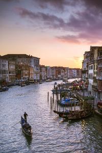 Italy, Veneto, Venice. Grand Canal at Sunset from Rialto Bridge by Matteo Colombo