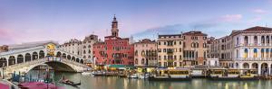 Italy, Veneto, Venice. Rialto Bridge at Dusk, High Angle View by Matteo Colombo