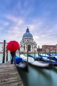 Italy, Veneto, Venice. Santa Maria Della Salute Church on the Grand Canal, at Sunset by Matteo Colombo