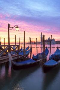Italy, Venice. Gondolas Moored on Riva Degli Schiavoni at Sunrise by Matteo Colombo