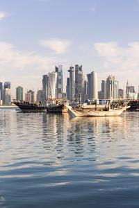 Qatar, Doha. Cityscape with Fishing Boats in the Foreground by Matteo Colombo