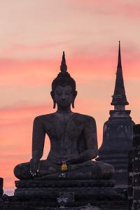 Thailand, Sukhothai Historical Park. Wat Mahathat Temple at Sunset by Matteo Colombo