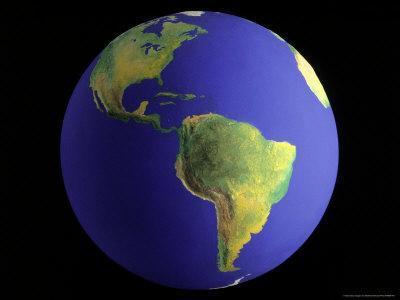Globe, View of South America