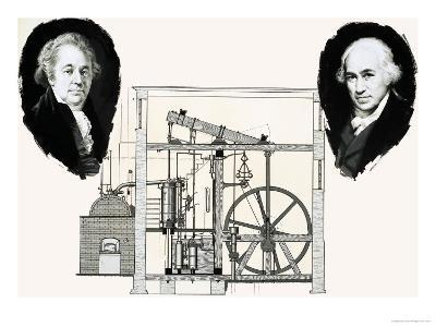 Matthew Boulton and James Watt with One of the Patented Steam Engines--Giclee Print