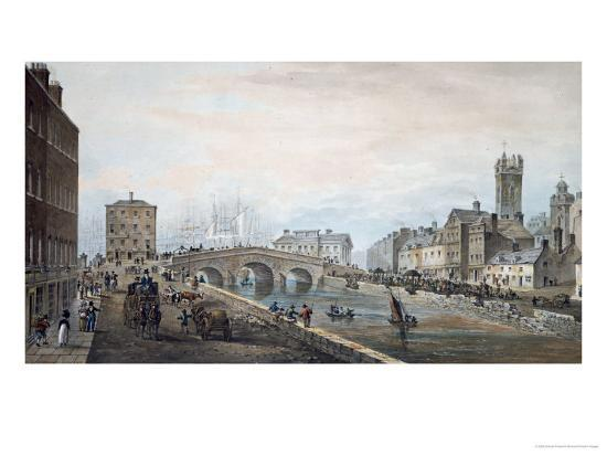Matthew Bridge and the Customs House, with the Tower of St. Marys Cathedral, 1819-Samuel Frederick Brocas-Giclee Print