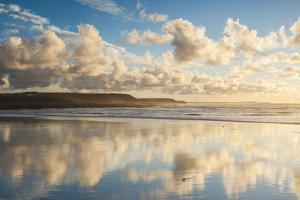 Cloud Reflections at Constantine Bay at Sunset, Cornwall, England, United Kingdom, Europe by Matthew