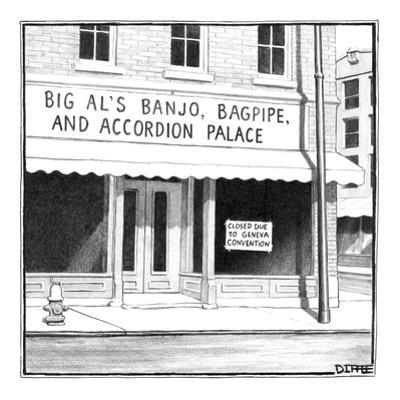 Big Al's Banjo, Accordion, and Bagpipe Palace - New Yorker Cartoon by Matthew Diffee