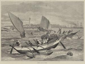Ceylon Boats at Galle by Matthew White Ridley