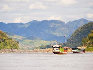 Boats About to Dock in Pak Beng, Half-Way Point from Thailand to Vientiane, Mekong River, Laos by Matthew Williams-Ellis