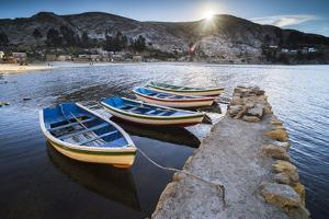 Boats in the Harbour on Lake Titicaca at Challapampa Village, Bolivia by Matthew Williams-Ellis