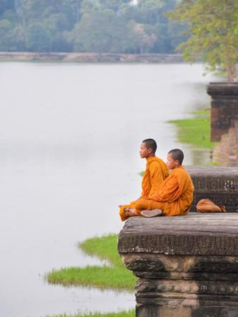 Buddhist Monks Sitting at Angkor Wat Temple, Angkor, UNESCO World Heritage Site, Cambodia by Matthew Williams-Ellis