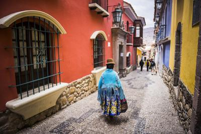 Chollita on Calle Jaen, a Colourful Colonial Cobbled Street in La Paz, La Paz Department, Bolivia