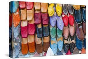 Colourful Babouche (Mens Leather Slippers) for Sale in the Marrakech Souks by Matthew Williams-Ellis