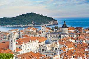 Dubrovnik Cathedral and Lokrum Island Elevated View by Matthew Williams-Ellis