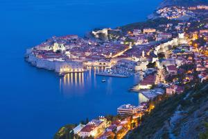 Dubrovnik Old Town at Night, Taken from Zarkovica Hill, Dalmatian Coast, Adriatic, Croatia, Europe by Matthew Williams-Ellis