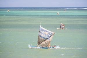 Fisherman Fishing from a Pirogue, a Traditional Madagascar Sailing Boat, Ifaty, Madagascar, Africa by Matthew Williams-Ellis
