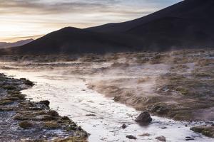 Geothermal River at Sunrise at Chalviri Salt Flats (Salar De Chalviri), Altiplano of Bolivia by Matthew Williams-Ellis