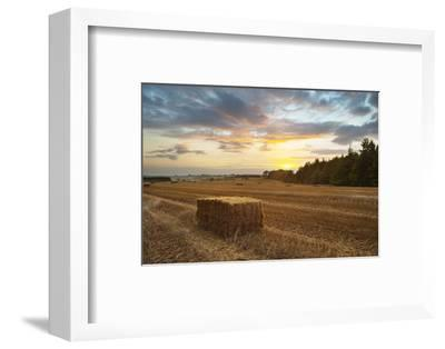 Hay Bale at Sunset, Broadway, the Cotswolds, Gloucestershire, England, United Kingdom, Europe