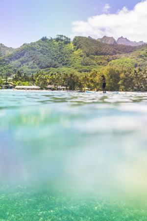 Paddleboarding in Muri Lagoon with Rarotonga in the Background, Cook Islands, Pacific by Matthew Williams-Ellis