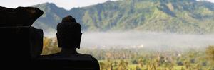 Silhouetted Buddha at Borobudur Temple at Sunrise, UNESCO World Heritage Site, Java, Indonesia by Matthew Williams-Ellis