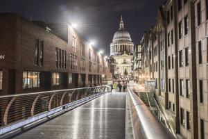 St. Pauls Cathedral at night, seen across Millennium Bridge, City of London, London, England by Matthew Williams-Ellis