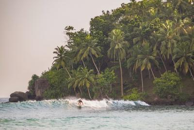 Surfer Surfing at Sunset at Mirissa Beach, South Coast, Sri Lanka, Southern Province, Asia