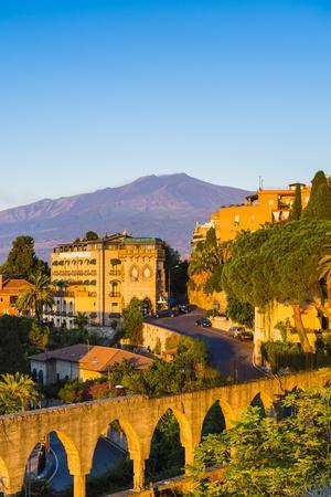 Top of Mount Etna Volcano at Sunrise Rising Above Taormina, Sicily, Italy, Mediterranean, Europe