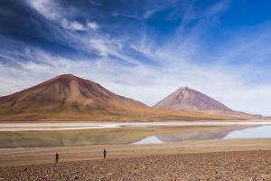 Tourists at Licancabur Volcano on Right and Laguna Verde, Bolivia by Matthew Williams-Ellis