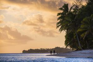 Walking Along a Tropical Beach at Sunset, Rarotonga, Cook Islands, South Pacific, Pacific by Matthew Williams-Ellis