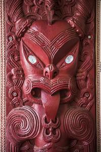 Wooden Carving at a Maori Meeting House, Waitangi Treaty Grounds, Bay of Islands by Matthew Williams-Ellis