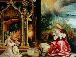 The Isenheim Altarpiece, Central Panel: Concert of Angels and Nativity, 1506-1515 by Matthias Gr?newald