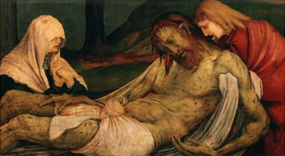 Christ Placed in the Tomb, from Predella to the Isenheim Altarpiece, C.1515 (Detail) by Matthias Grünewald