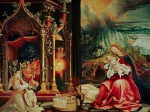 Concert of the Angels, the Madonna in Prayer, and Nativity, from the Isenheim Altarpiece, 1515 by Matthias Grünewald