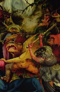 Demons Armed with Sticks from the Isenheim Altarpiece, C,1512-16 by Matthias Grünewald