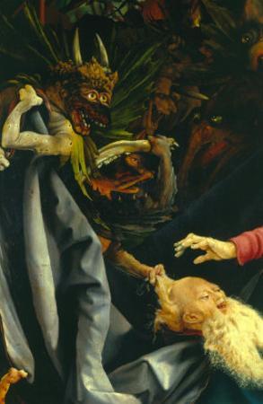 Demons Pulling St. Anthony's Hair, the Temptation of St. Anthony, Isenheim Altarpiece, c.1512-16 by Matthias Grünewald
