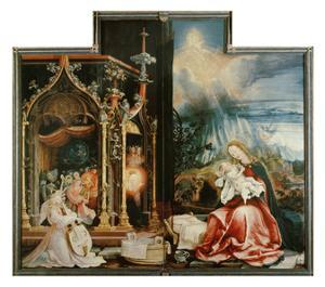 Isenheimer Altar. Inner Center Panel: Angel Concert and Nativitiy by Matthias Grünewald