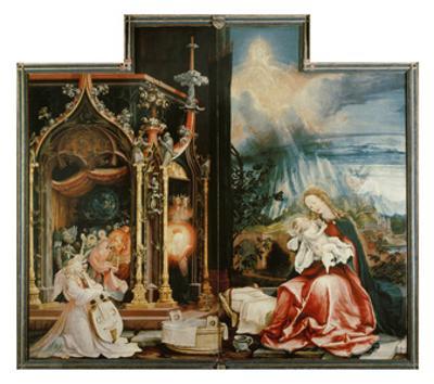 Isenheimer Altar. Inner Center Panel: Angel Concert and Nativitiy by Matthias Grünewald