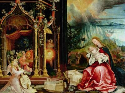 Nativity and Concert of Angels from the Isenheim Altarpiece, Central Panel by Matthias Grünewald