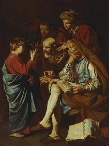 Jesus Christ, Aged Twelve, Among the Scribes by Matthias Stomer