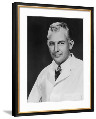 Mature Male Doctor, Portrait (B&W)--Framed Photographic Print