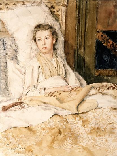 Maud Sewing, 1883-Childe Hassam-Giclee Print