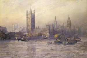 The Houses of Parliament, Watercolour by Maude Parker