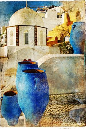 Amazing Santorini - Artwork In Painting Style by Maugli-l