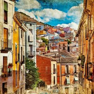 Colorful Spain - Streets And Buildings Of Cuenca Town - Artistic Picture by Maugli-l